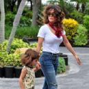 Salma Hayek takes daughter Valentina Paloma (b. September 21, 2007) to the Miami Seaquarium