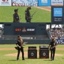 Kirk Hammett and James Hetfield of the rock band Metallica perform the National Anthem before the game between the San Francisco Giants and the Los Angeles Angels of Anaheim at AT&T Park on May 2, 2015 in San Francisco, California.
