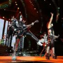 Gene Simmons, Tommy Thayer and Paul Stanley of KISS, perform during their opening show for the Australian leg of their 40th anniversary world tour at Perth Arena on October 3, 2015 in Perth, Australia.