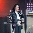 Alice Cooper is seen performing with his band Hollywood Vampires at 'Jimmy Kimmel Live' in Los Angeles, California on June 13, 2019