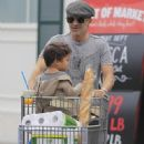 Olivier Martinez and his son Maceo are spotted out grocery shopping at Bristol Farms in West Hollywood, California on April 10, 2016 - 452 x 600