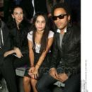 Kanye West, L'Wren Scott, Zoe and Lenny Kravitz attend the Yves Saint Laurent Fashion Show Spring/Summer 2007, on October 5, 2006 in Paris, France - 392 x 512