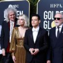Jim Beach, Brian May of Queen, Lucy Boynton, Rami Malek, Roger Taylor of Queen, and Sarina Potgieter At The 76th Annual Golden Globes (2019)
