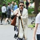 Anne Hathaway In Poncho Out and About In Nyc