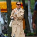 Katie Holmes in a trench coat as she takes a phone call out in New York City - 454 x 681