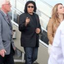"""KISS frontman Gene Simmons takes his family to Hasting Racetrack in Vancouver, Canada. The """"Gene Simmons Family Jewels"""" stars posed with fans and met the jockeys and horses."""