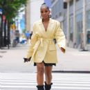 Keke Palmer in Yellow Coat – Out in New York City - 454 x 588