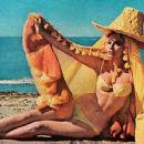 Actress Claudie Lange, on Beach in Yellow Bikini & Big Hat, 1965