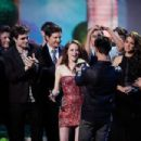 Cast & Crew of Twilight Saga: Eclipse accept the Best Movie award onstage during the 2011 MTV Movie Awards at Universal Studios' Gibson Amphitheatre on June 5, 2011 in Universal City, California