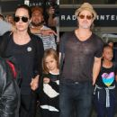 Brad Pitt, Angelina Jolie, and all of their kids are seen at LAX (July 5, 2015)