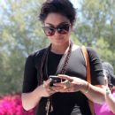 Vanessa Hudgens was spotted heading into the DMV today, July 20,  in Studio City, CA