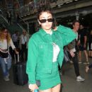 Charli XCX in Green – Arriving at the Kings Cross St Pancras Station in London - 454 x 737