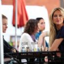 "Lo Bosworth and Stephanie Pratt film scenes for ""The Hills"" at Coral Tree Cafe in Brentwood"