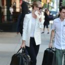 'Mad Max: Fury Road' actress Rosie Huntington-Whiteley checks out of her hotel in Tribeca on June 10, 2015 in New York City, New York