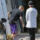 Justin Bieber stops by a studio in Los Angeles, California on June 25, 2015