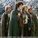 Dominic Monaghan as Merry, Elijah Wood as Frodo, Billy Boyd as Pippin and Sean Astin as Samwise in New Line's The Lord of The Rings: The Fellowship of The Ring - 2001 - 400 x 267