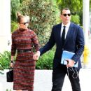 Jennifer Lopez in Plaid Dress – Ggoes to business meeting in Miami