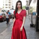 Sofia Carson in Red Dress at Good Day New York Studios in NY