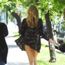 Elizabeth Olsen in Mini Dress out in West Hollywood