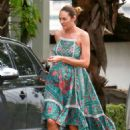 Candice Swanepoel in Summer Dress out in Vitoria