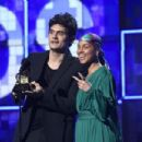 John Mayer and host Alicia Keys At The 61st Annual Grammy Awards - Show
