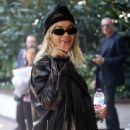 Rita Ora in Leather Jacket – Arriving in Milan