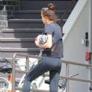 Irina Shayk in Black Tights out in Santa Monica
