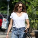 Troian Bellisario – Walking her dog in LA - 454 x 654