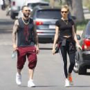 Behati Prinsloo and Adam Levine – Heads to morning Pilates workout in Studio City - 454 x 448