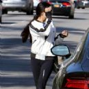 Vanessa Hudgens in black leggings goes for a work in Studio City