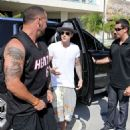 Justin Bieber arriving to on a yacht with friends in Miami July 3, 2014