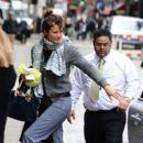 Helena Christensen Arrives at Her Hotel Make-Up Free