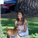 Minka Kelly takes her dog Fred to the park in Beverly Hills - 454 x 525