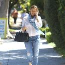 Jennifer Garner leaves a friend's house after a visit in Brentwood