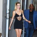 Cara Delevingne in Black Mini Dress – Leaves The Wing in New York