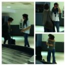 Francois Arnaud et Evelyne Brochu at the Los Angeles airport.