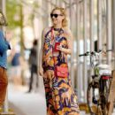 Diane Kruger in Flower Maxi Dress – Out in New York - 454 x 568