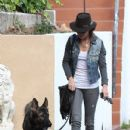 Nikki Reed: takes her dog out for a walk in Sherman Oaks