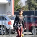Nina Dobrev in Red Spandex – Hits the gym in LA - 454 x 584