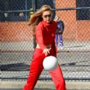 Gigi Hadid – Plays volleyball on a photoshoot in New York City