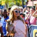 Paris Hilton On Extra Set In Universal City