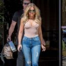 Khloe Kardashian in Jeans on the set at studio in Calabasas