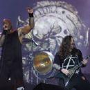 Derrick Green of Sepultura performs at Palco Mundo at Cidade do Rock on October 4, 2019 in Rio de Janeiro, Brazil