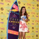 Actress Lea Michele poses in the press room during the Teen Choice Awards 2015 at the USC Galen Center on August 16, 2015 in Los Angeles, California