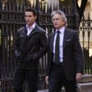 Shia LaBeouf and Michael Douglas were spotted out in Manhattan today (October 8).