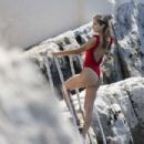 Daniela Lopez Osorio – Hot In Red Swimsuit at Hotel Cap Eden Roc In Antibes - 454 x 303