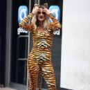 Ashley Roberts – In a Tiger print catsuit at the Heart radio studios in London