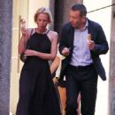 Gillian Anderson and Peter Morgan at a romantic dinner in Portofino - 454 x 618