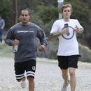 Justin Bieber is spotted out for a jog with a friend in Los Angeles, California on December 21, 2016