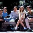 Neve Campbell as Sidney Prescott, Skeet Ulrich as Billy Loomis, Jamie Kennedy as Randy Meeks, Matthew Lillard as Stuart Macher and Rose McGowan as Tatum Riley in Scream (1996)